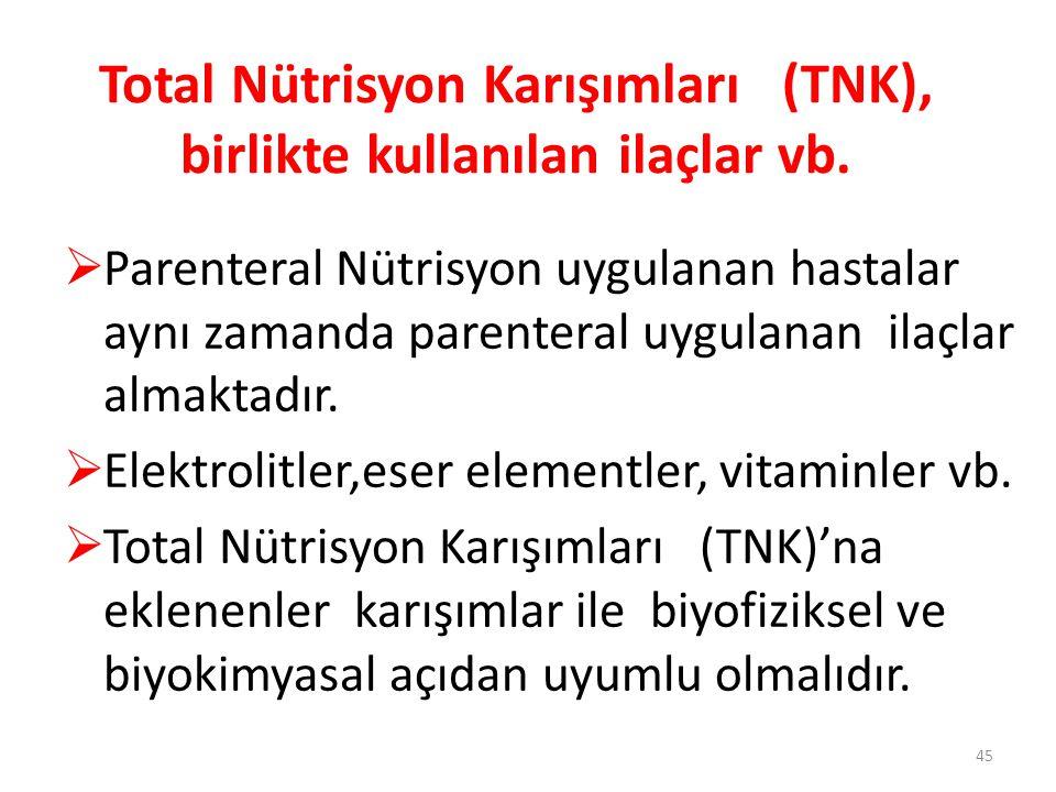 Total Nütrisyon Karışımları (TNK), birlikte kullanılan ilaçlar vb.