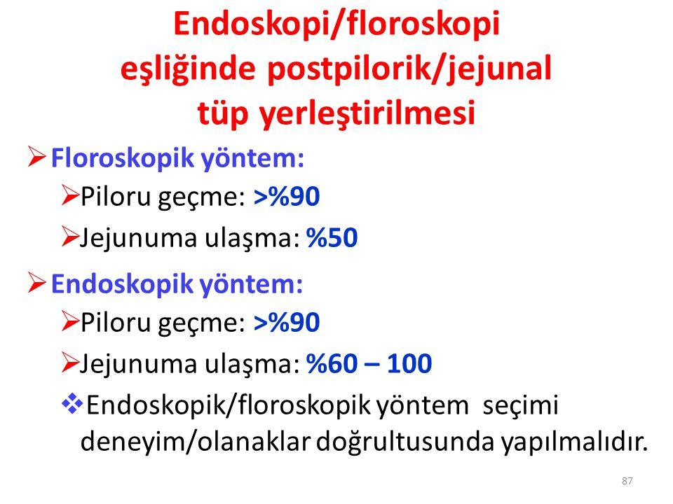 Endoskopi/floroskopi eşliğinde postpilorik/jejunal tüp yerleştirilmesi