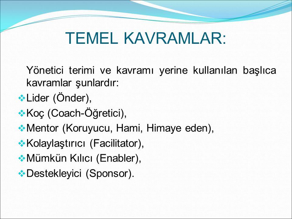 TEMEL KAVRAMLAR: Yönetici terimi ve kavramı yerine kullanılan başlıca kavramlar şunlardır: Lider (Önder),