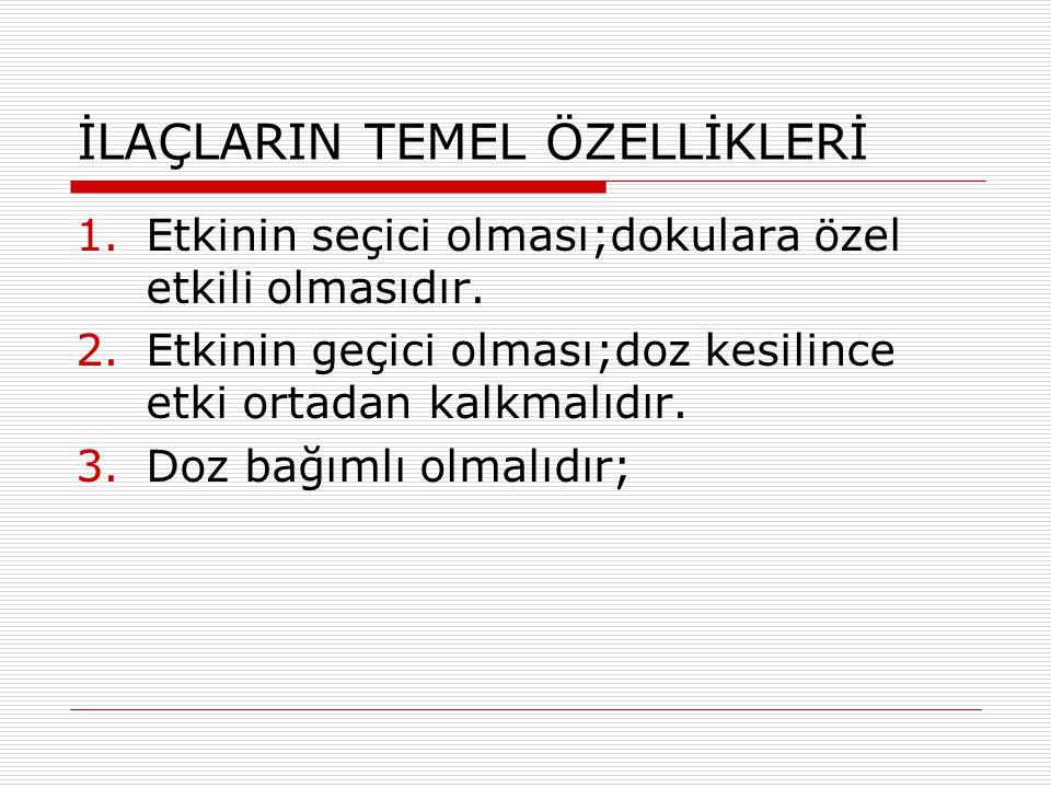İLAÇLARIN TEMEL ÖZELLİKLERİ