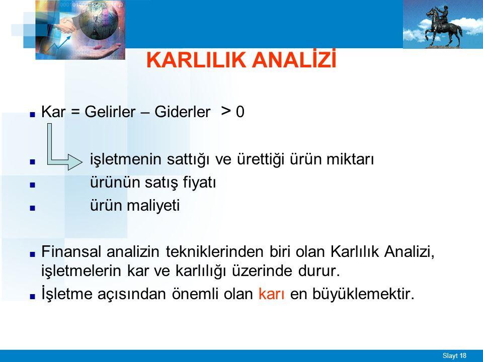KARLILIK ANALİZİ
