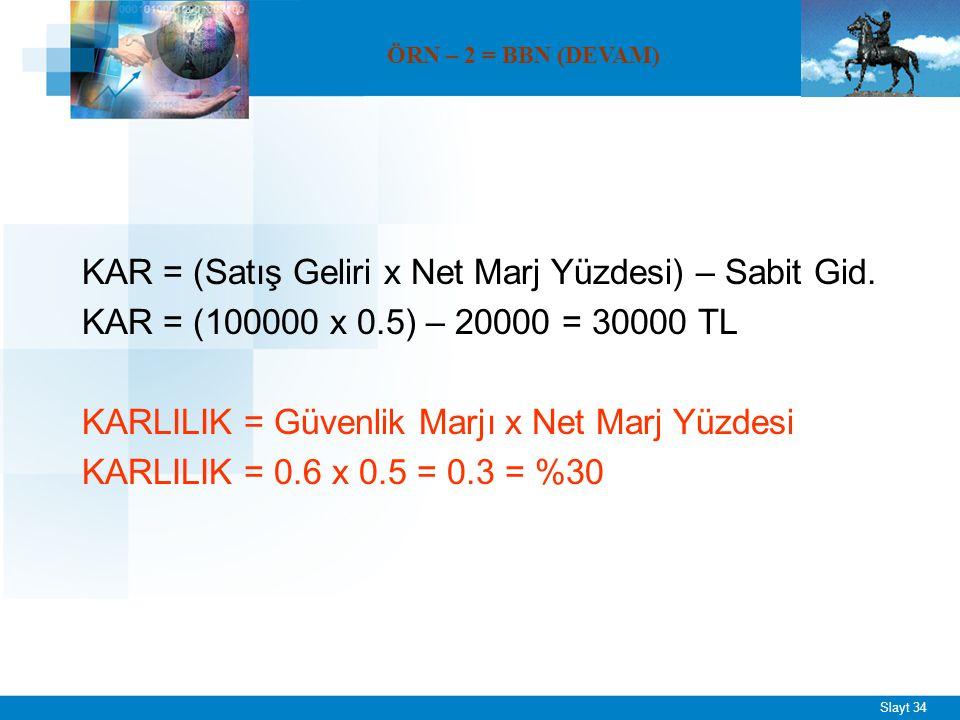 ÖRNEK – 3 = BBN Sabit maliyetleri 2000 TL, birim satış fiyatı 200