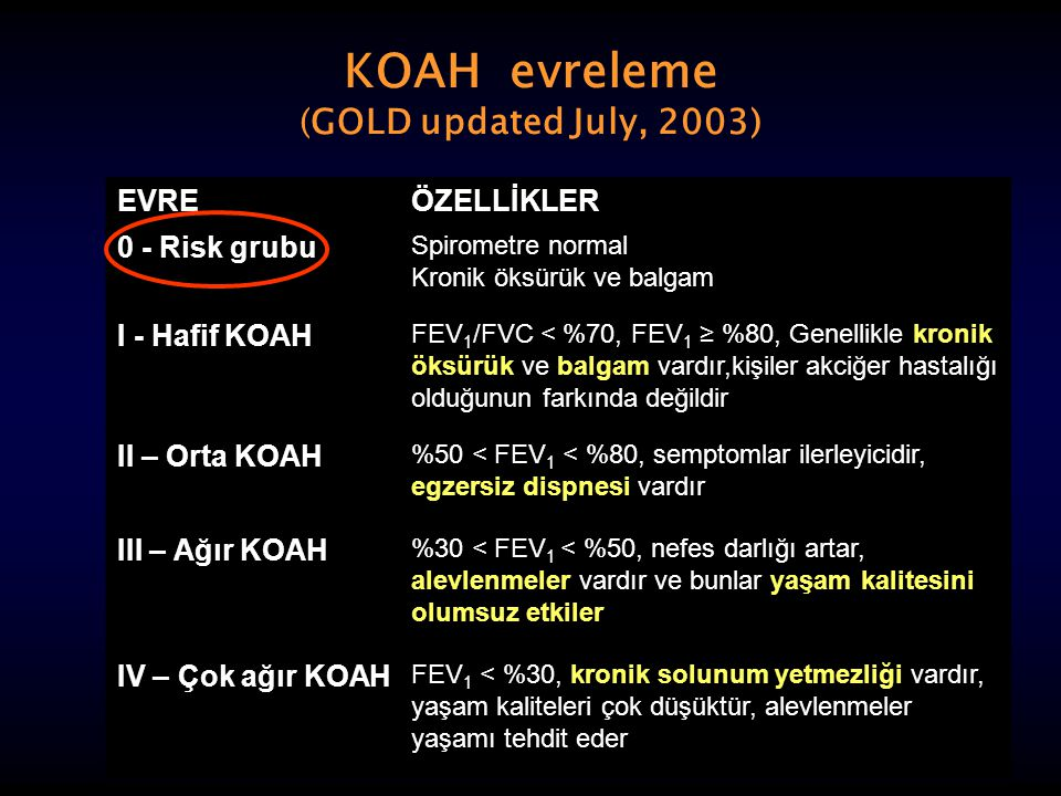 KOAH evreleme (GOLD updated July, 2003)