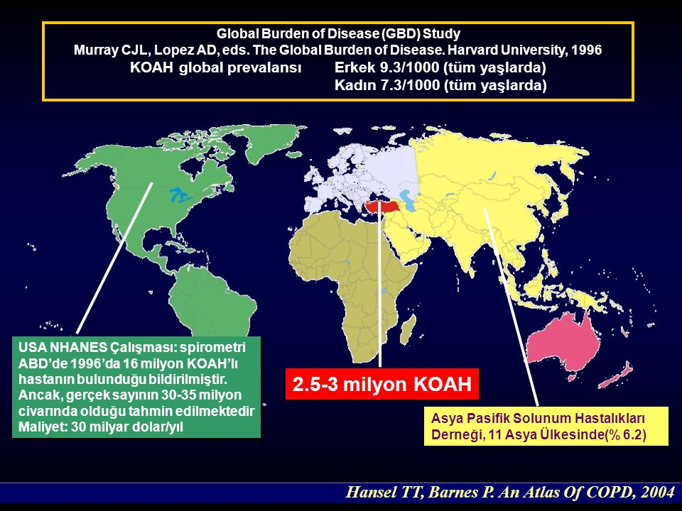 2.5-3 milyon KOAH Hansel TT, Barnes P. An Atlas Of COPD, 2004