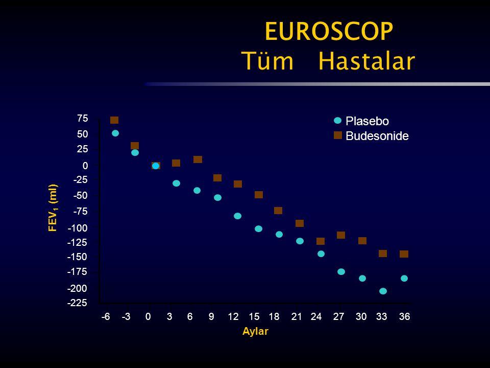 EUROSCOP Tüm Hastalar Plasebo Budesonide FEV1 (ml) Aylar 75 50 25 -25