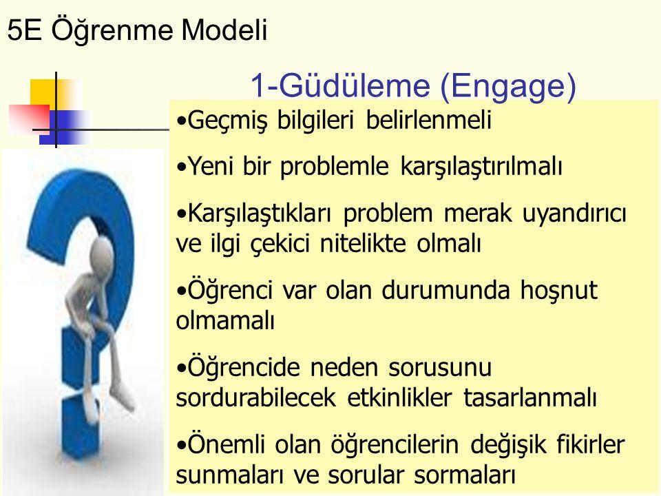 1-Güdüleme (Engage) 5E Öğrenme Modeli Geçmiş bilgileri belirlenmeli