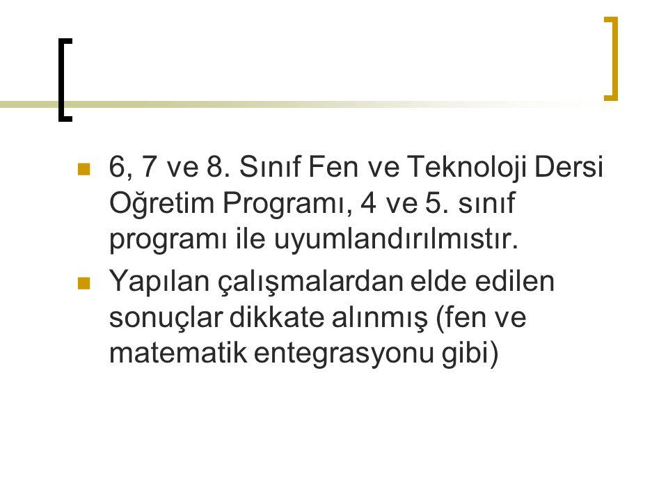 6, 7 ve 8. Sınıf Fen ve Teknoloji Dersi Oğretim Programı, 4 ve 5