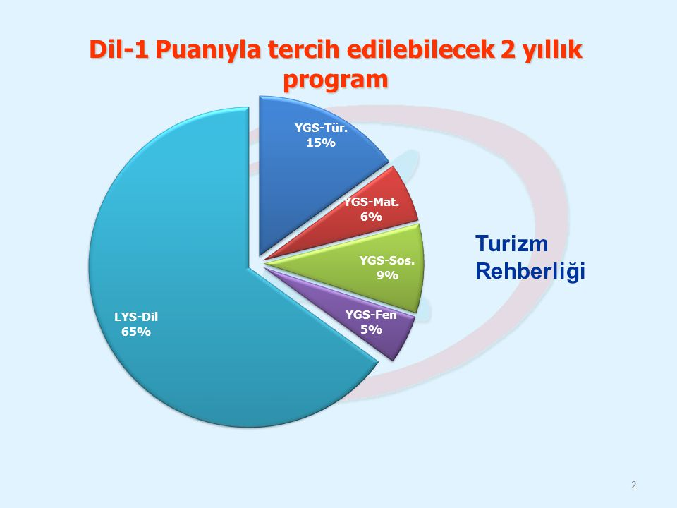 Dil-1 Puanıyla tercih edilebilecek 2 yıllık program
