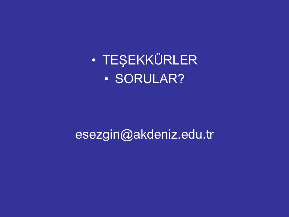 TEŞEKKÜRLER SORULAR esezgin@akdeniz.edu.tr