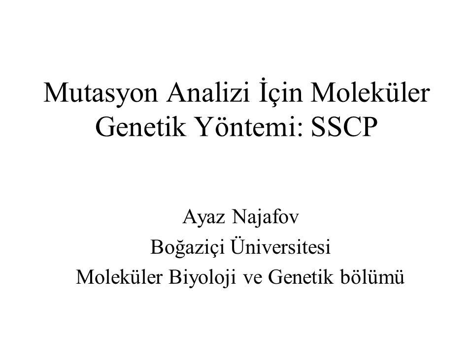 Mutasyon Analizi İçin Moleküler Genetik Yöntemi: SSCP