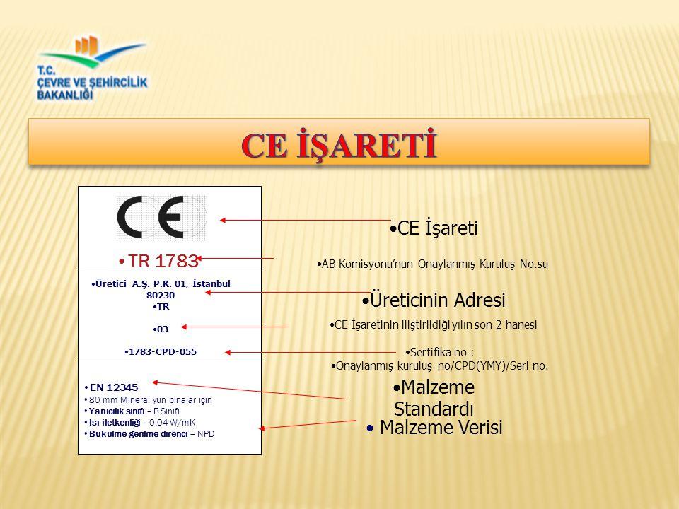 CE İŞARETİ CE İşareti TR 1783 Üreticinin Adresi Malzeme Standardı