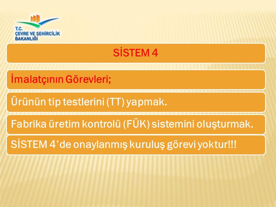 SİSTEM 4 İmalatçının Görevleri; Ürünün tip testlerini (TT) yapmak. SİSTEM 4'de onaylanmış kuruluş görevi yoktur!!!