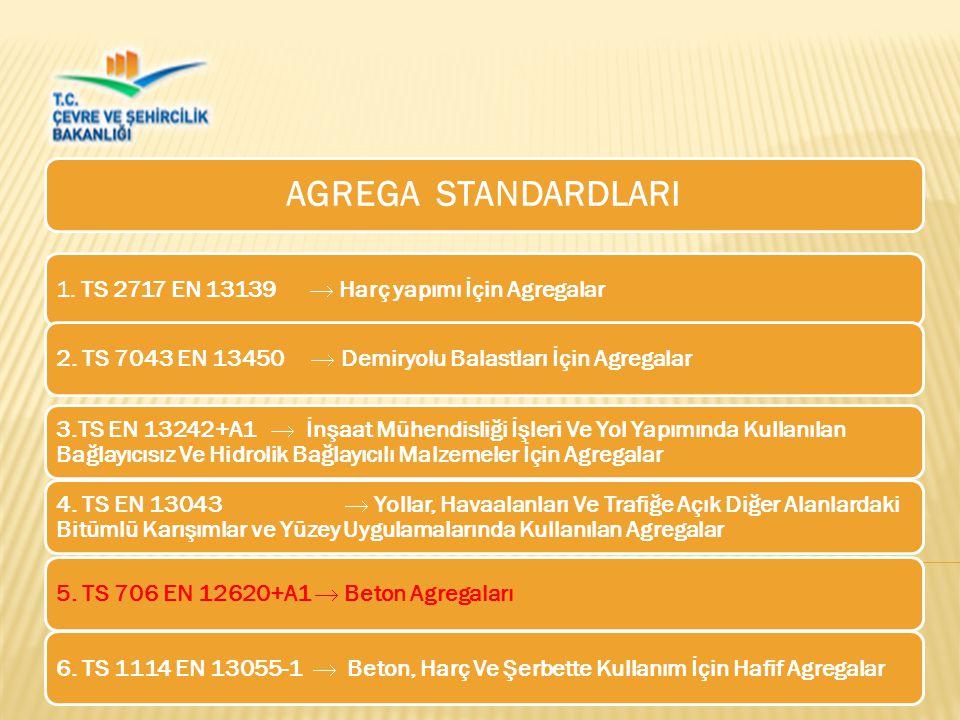 AGREGA STANDARDLARI 1. TS 2717 EN 13139  Harç yapımı İçin Agregalar