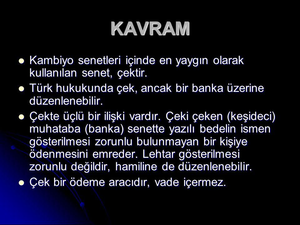 KAVRAM Kambiyo senetleri içinde en yaygın olarak kullanılan senet, çektir. Türk hukukunda çek, ancak bir banka üzerine düzenlenebilir.