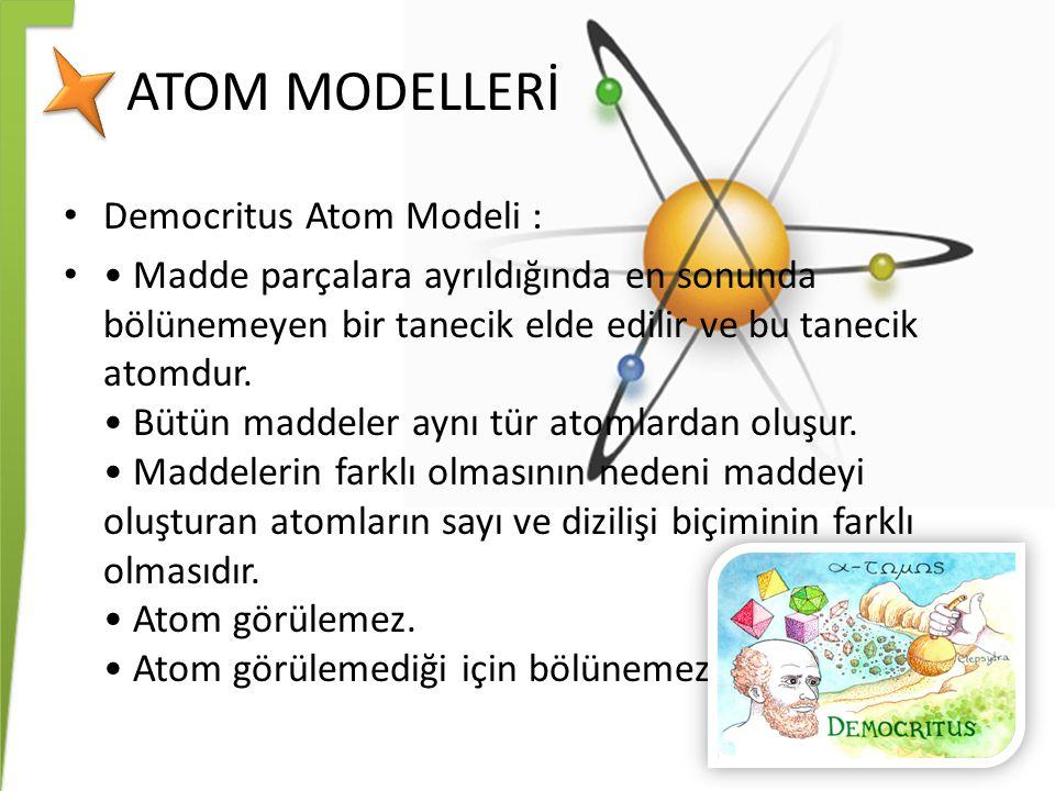 ATOM MODELLERİ Democritus Atom Modeli :
