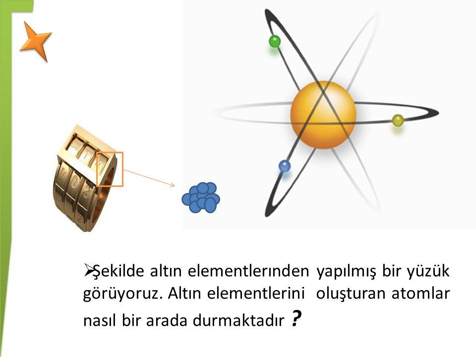 Şekilde altın elementlerınden yapılmış bir yüzük görüyoruz