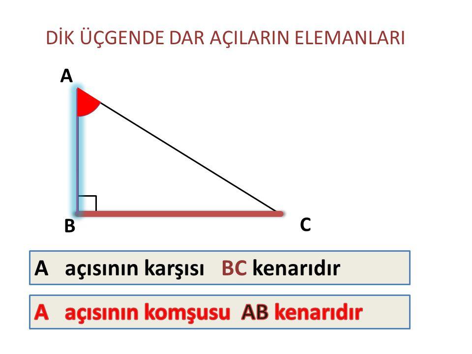 A açısının karşısı BC kenarıdır