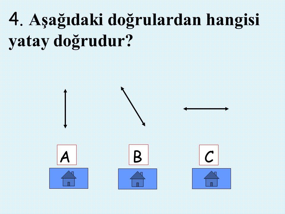 4. Aşağıdaki doğrulardan hangisi yatay doğrudur