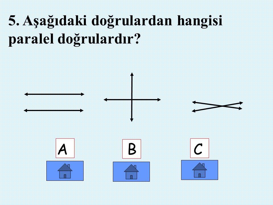 5. Aşağıdaki doğrulardan hangisi paralel doğrulardır