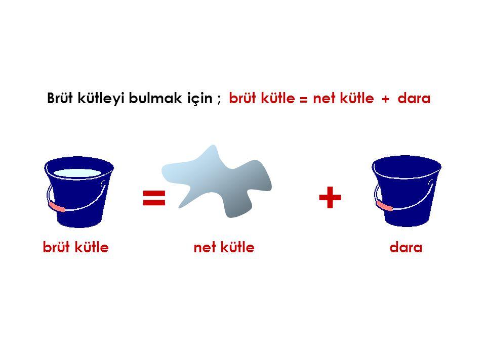 = + Brüt kütleyi bulmak için ; brüt kütle = net kütle + dara