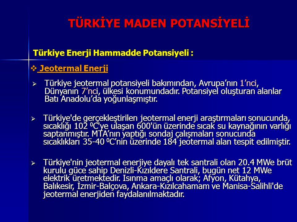 TÜRKİYE MADEN POTANSİYELİ Türkiye Enerji Hammadde Potansiyeli :