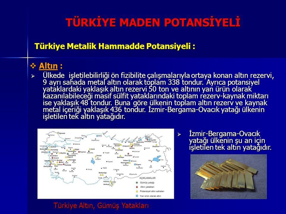 TÜRKİYE MADEN POTANSİYELİ Türkiye Metalik Hammadde Potansiyeli :