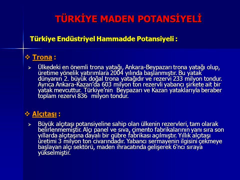 TÜRKİYE MADEN POTANSİYELİ Türkiye Endüstriyel Hammadde Potansiyeli :