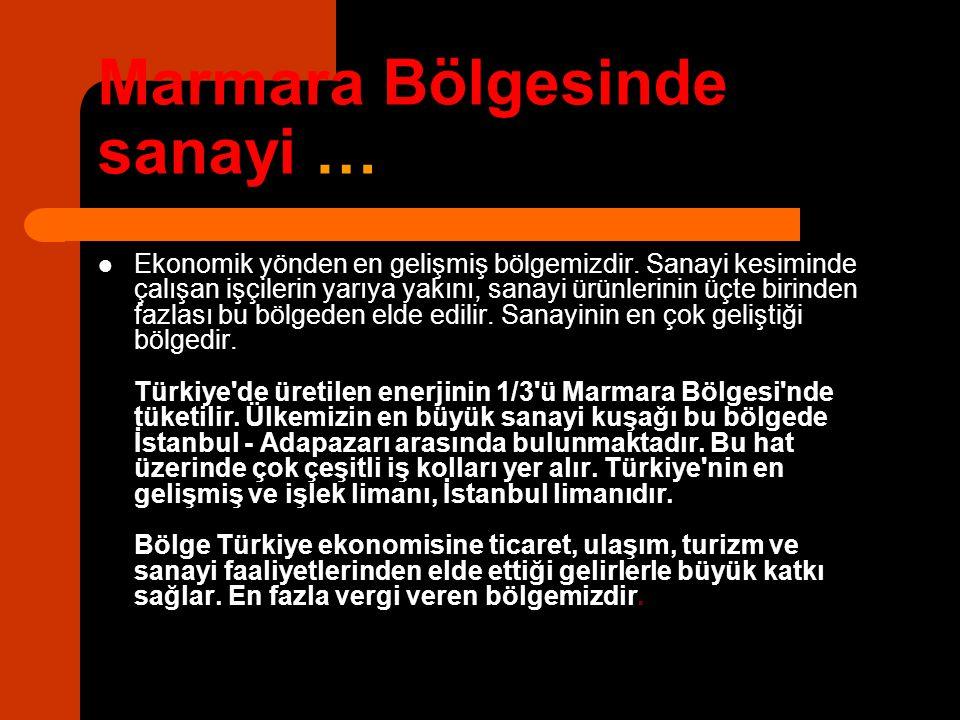 Marmara Bölgesinde sanayi …