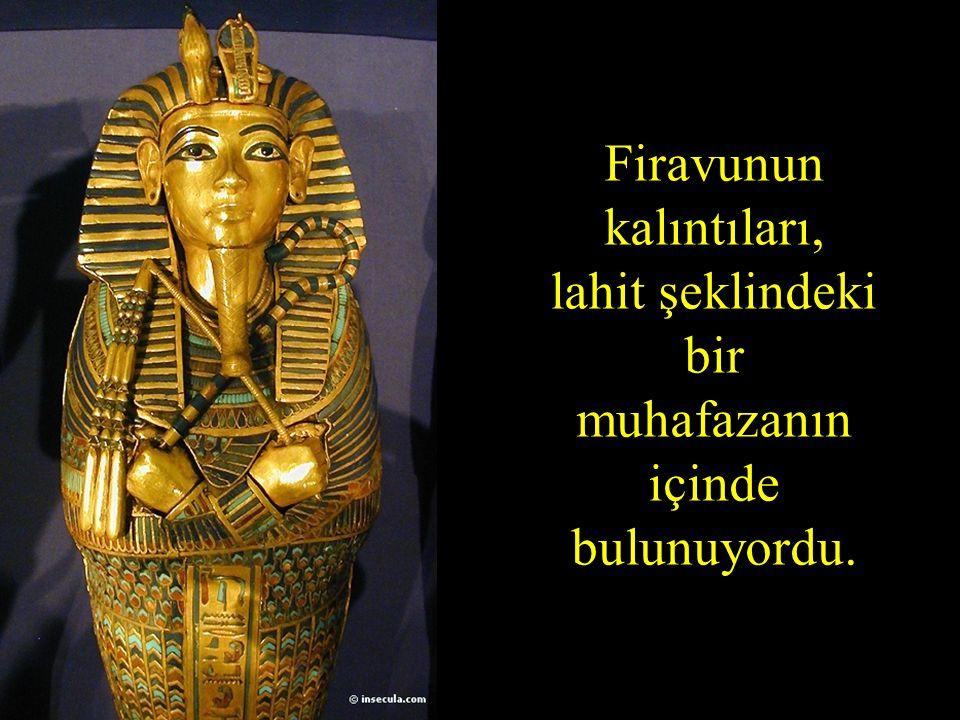Firavunun kalıntıları, lahit şeklindeki bir muhafazanın içinde bulunuyordu.