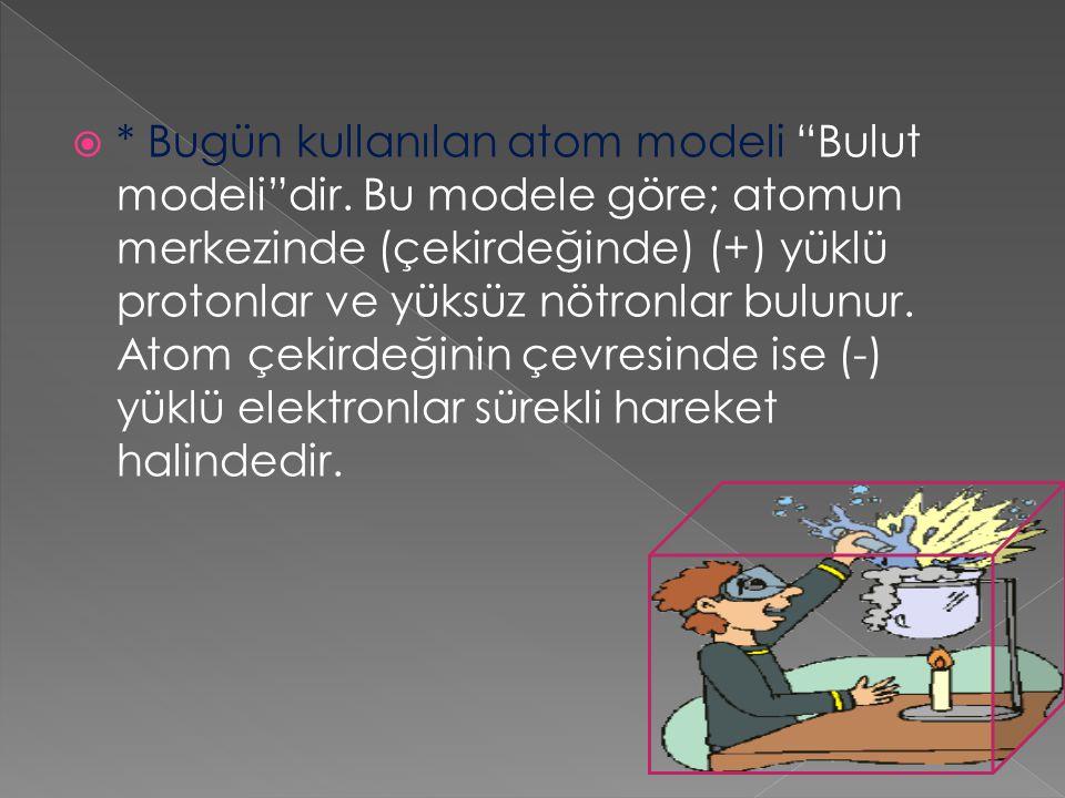 Bugün kullanılan atom modeli Bulut modeli dir