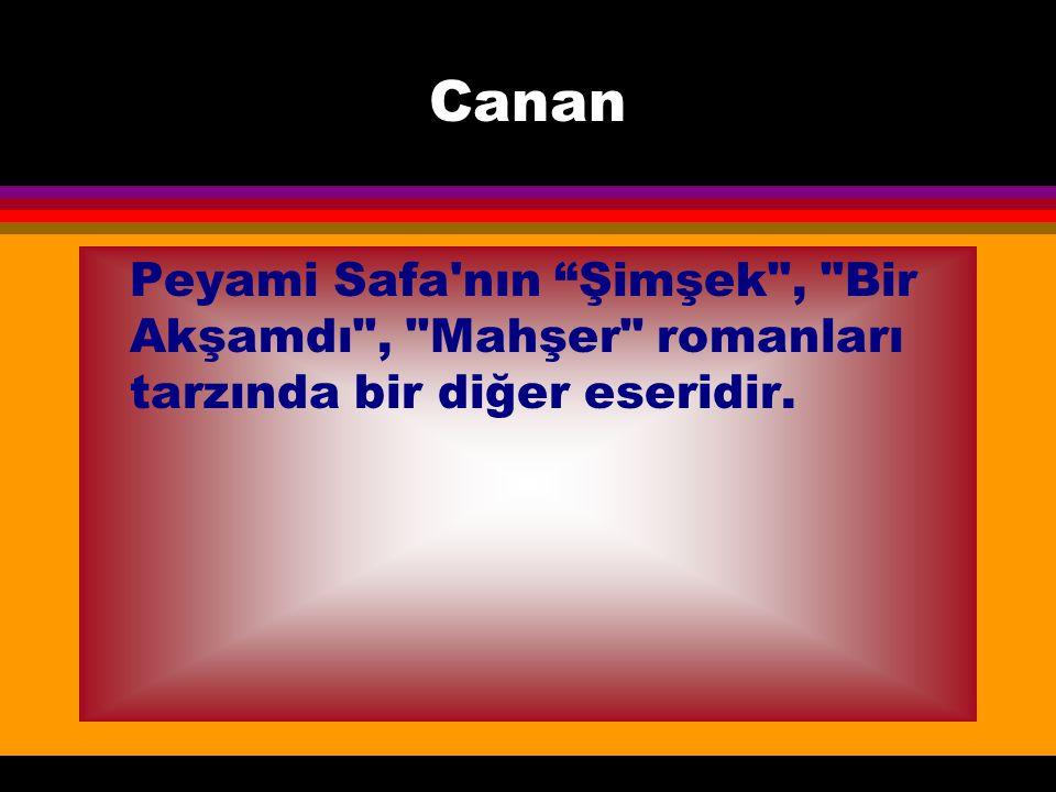 Canan Peyami Safa nın Şimşek , Bir Akşamdı , Mahşer romanları tarzında bir diğer eseridir.