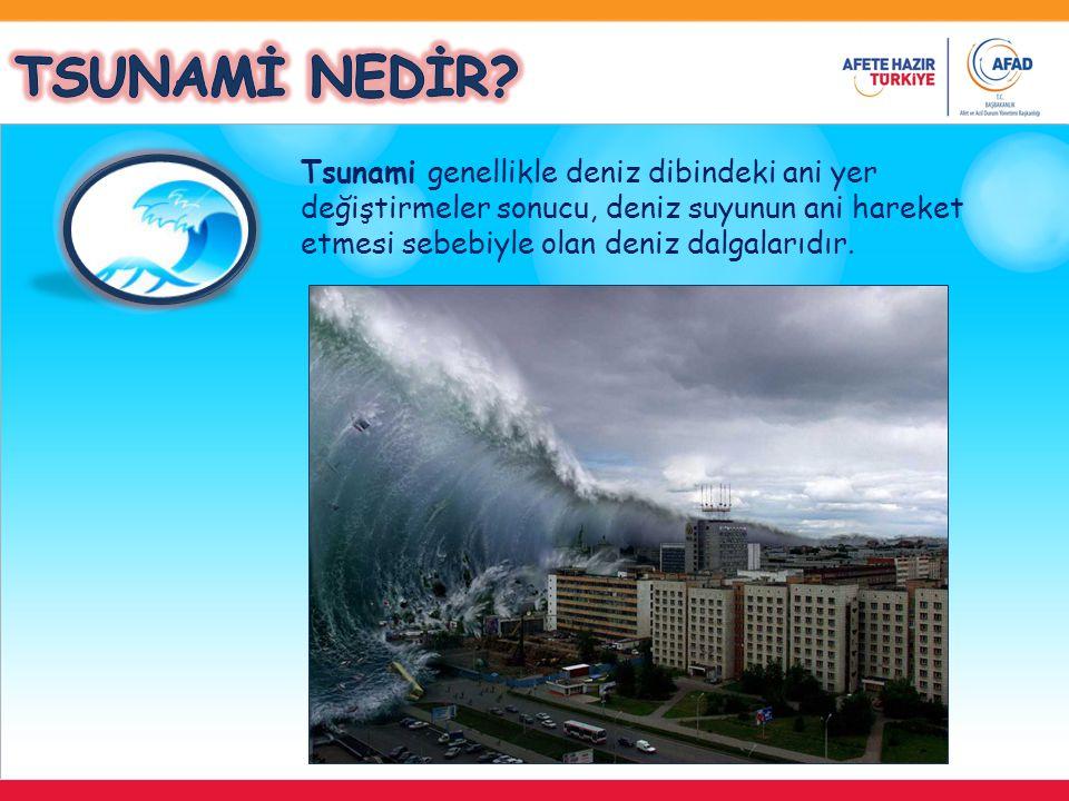 TSUNAMİ NEDİR Tsunami genellikle deniz dibindeki ani yer değiştirmeler sonucu, deniz suyunun ani hareket etmesi sebebiyle olan deniz dalgalarıdır.