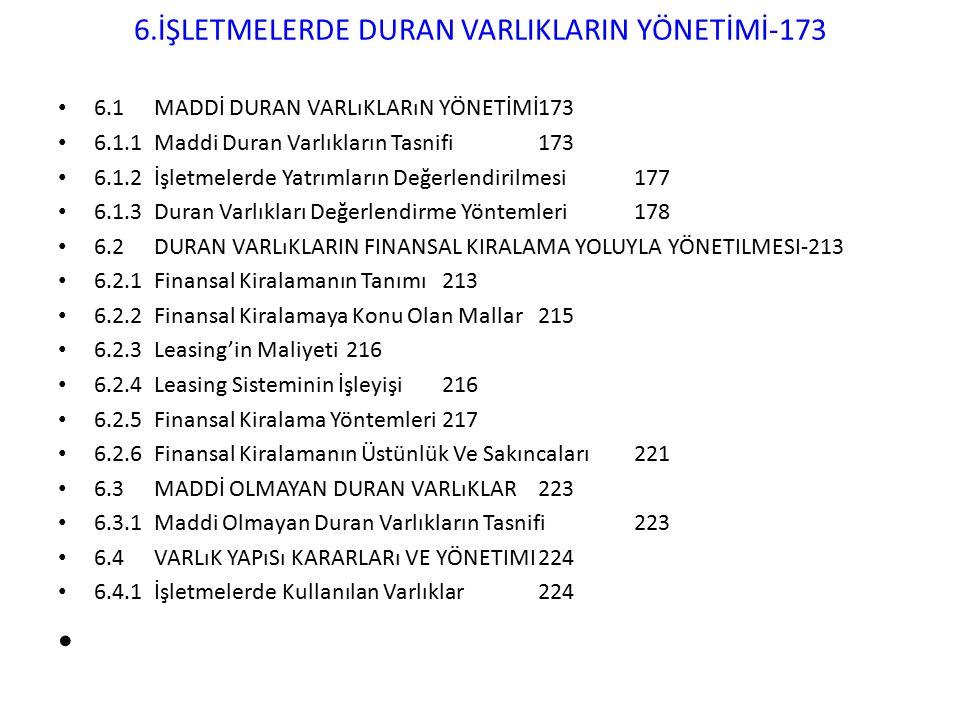 6.İŞLETMELERDE DURAN VARLIKLARIN YÖNETİMİ-173