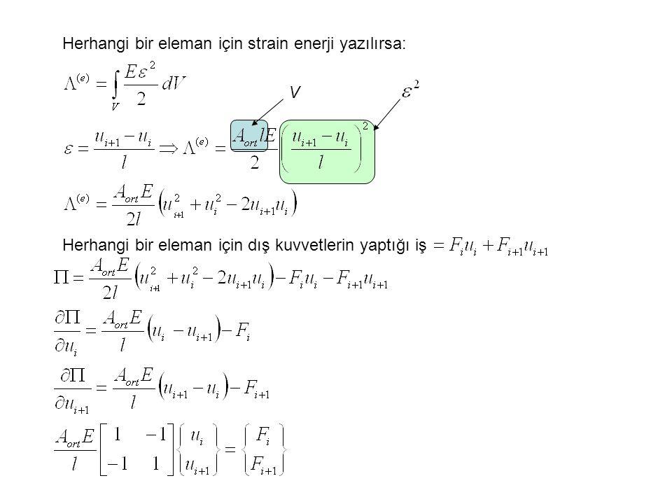 Herhangi bir eleman için strain enerji yazılırsa: