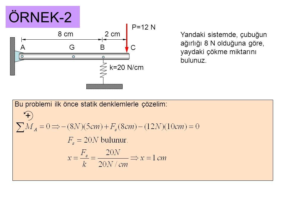 ÖRNEK-2 P=12 N. 8 cm. 2 cm. Yandaki sistemde, çubuğun ağırlığı 8 N olduğuna göre, yaydaki çökme miktarını bulunuz.
