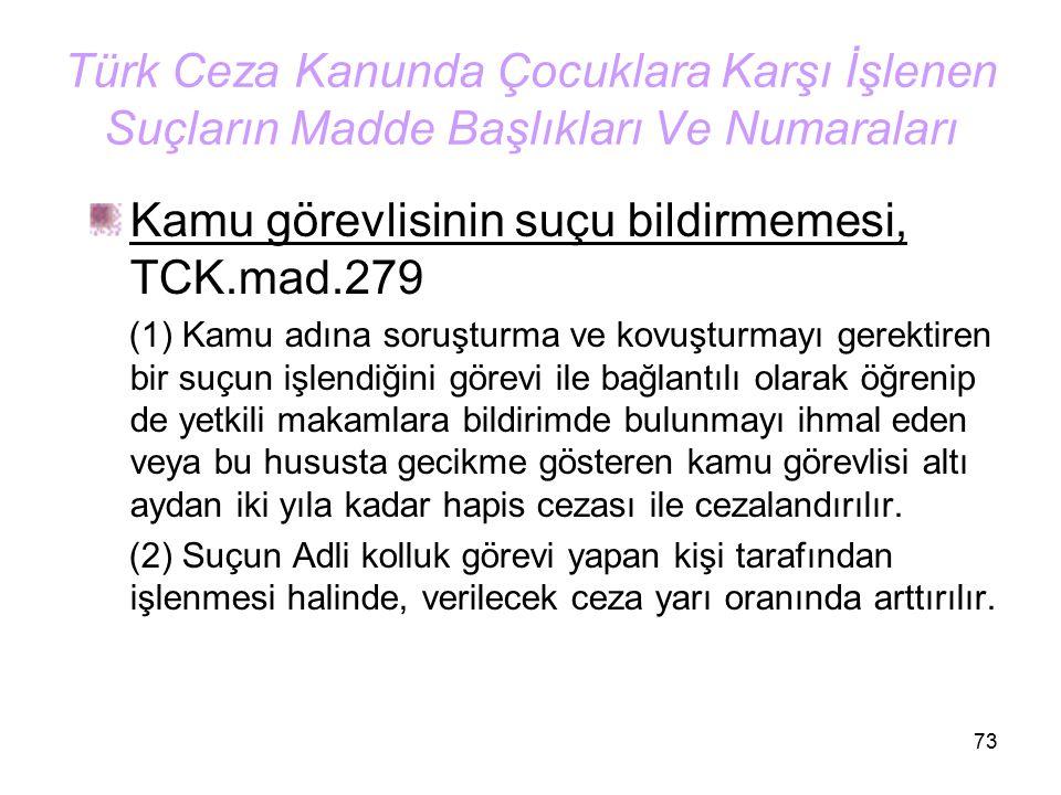 Kamu görevlisinin suçu bildirmemesi, TCK.mad.279