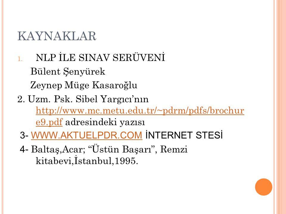 KAYNAKLAR NLP İLE SINAV SERÜVENİ Bülent Şenyürek Zeynep Müge Kasaroğlu