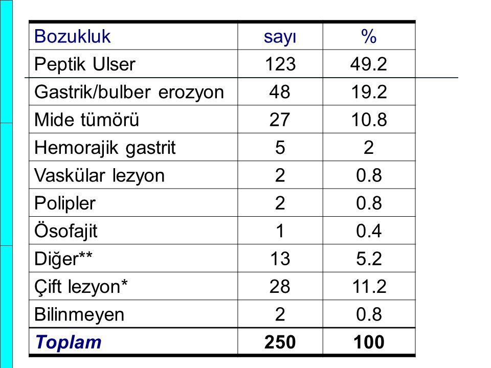 Bozukluk sayı. % Peptik Ulser. 123. 49.2. Gastrik/bulber erozyon. 48. 19.2. Mide tümörü. 27.