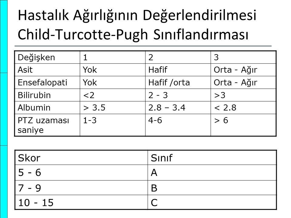 Hastalık Ağırlığının Değerlendirilmesi Child-Turcotte-Pugh Sınıflandırması