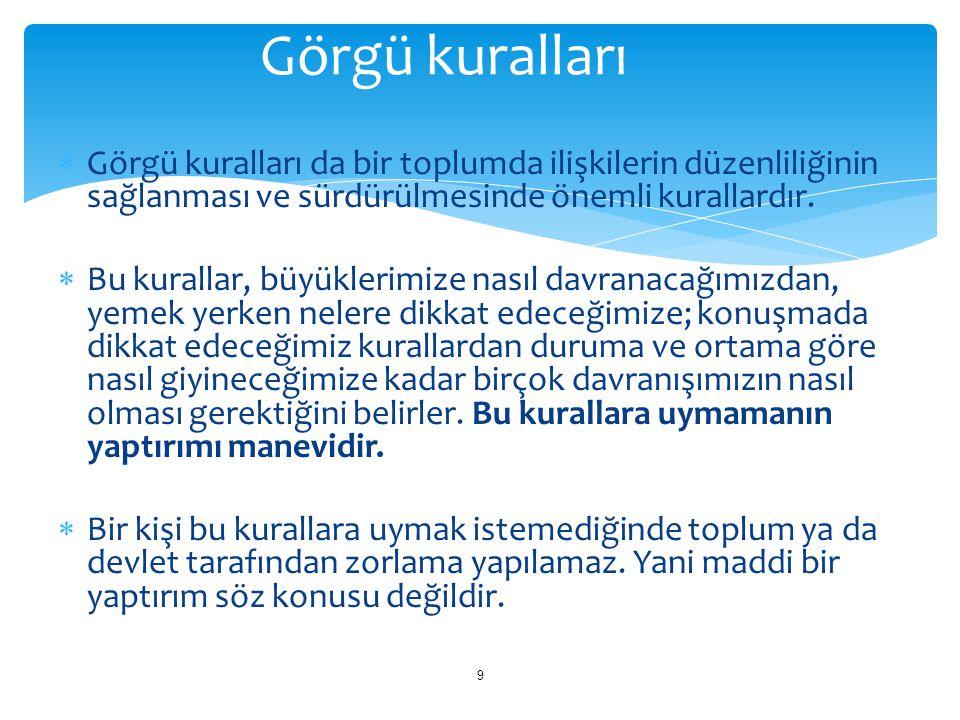 Görgü kuralları Görgü kuralları da bir toplumda ilişkilerin düzenliliğinin sağlanması ve sürdürülmesinde önemli kurallardır.