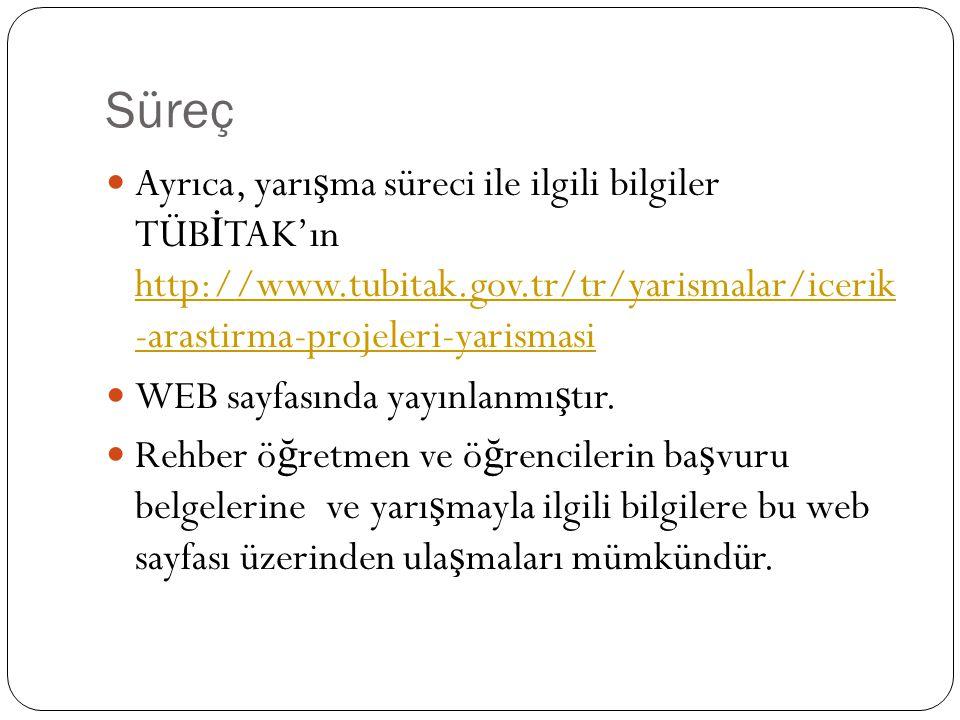 Süreç Ayrıca, yarışma süreci ile ilgili bilgiler TÜBİTAK'ın http://www.tubitak.gov.tr/tr/yarismalar/icerik -arastirma-projeleri-yarismasi.