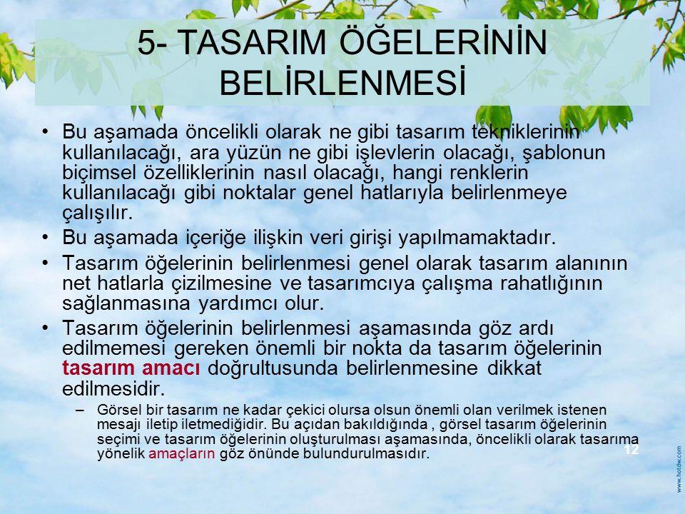 5- TASARIM ÖĞELERİNİN BELİRLENMESİ