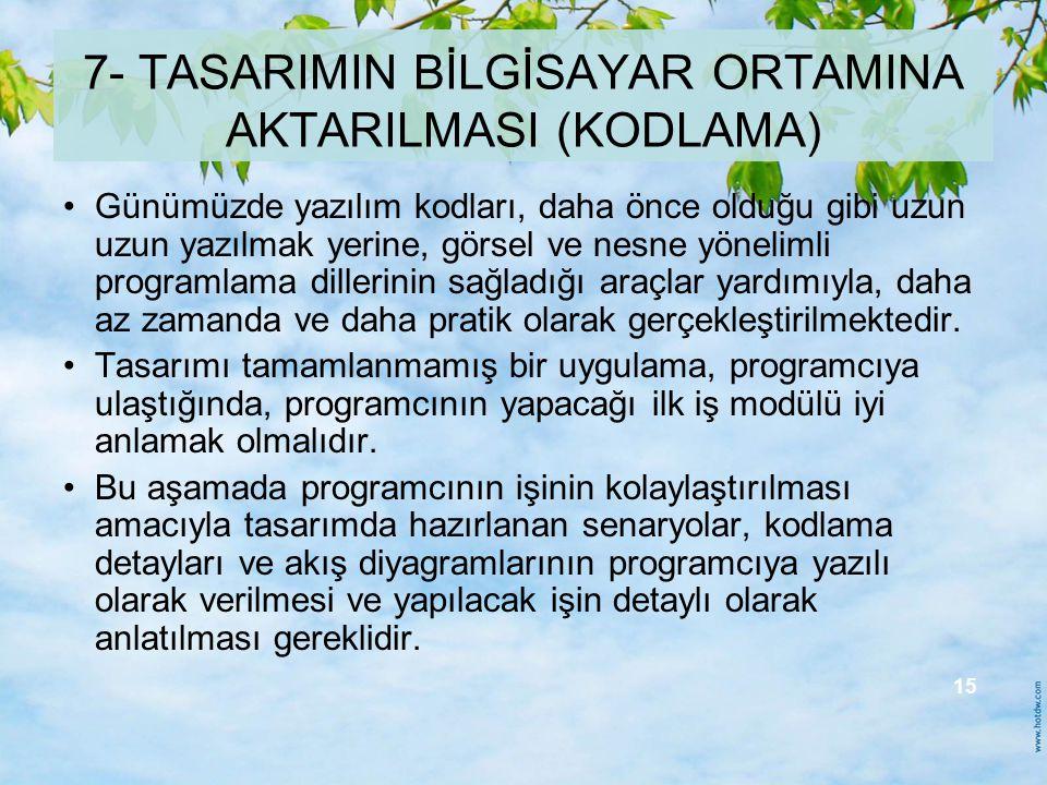 7- TASARIMIN BİLGİSAYAR ORTAMINA AKTARILMASI (KODLAMA)