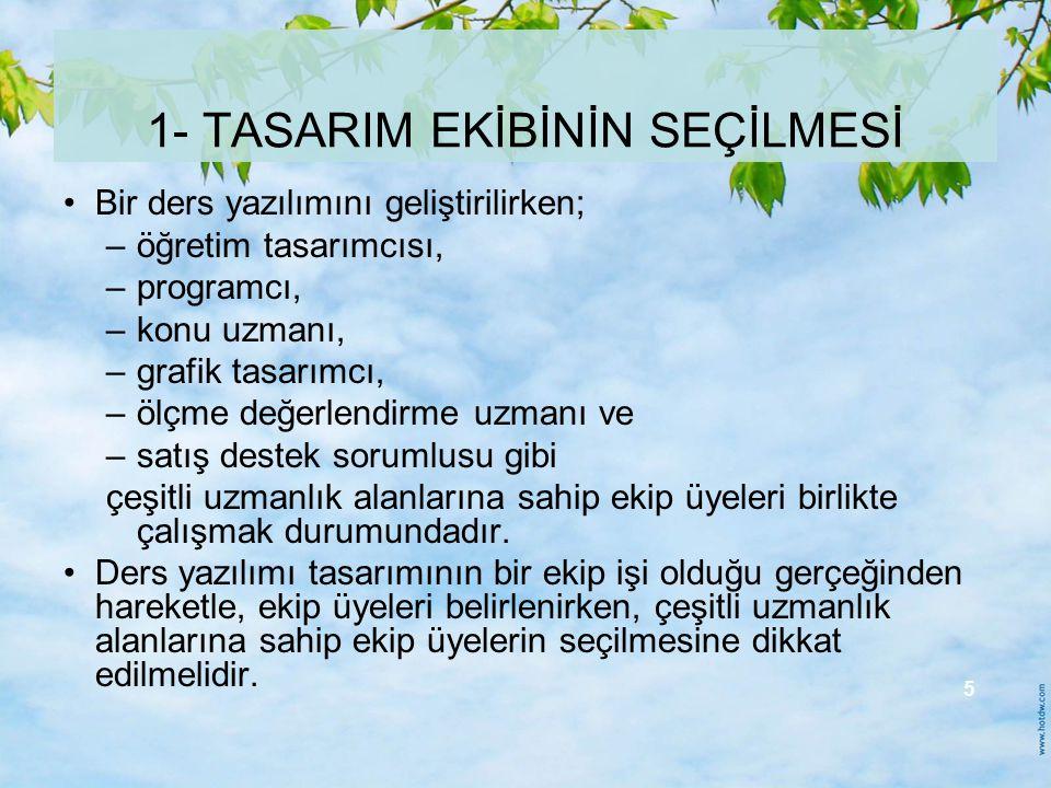 1- TASARIM EKİBİNİN SEÇİLMESİ