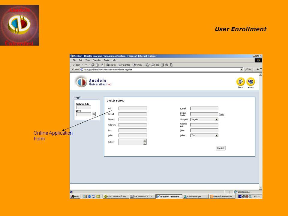 User Enrollment Online Application Form