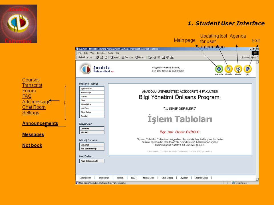 Student User Interface