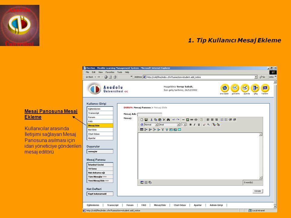 Tip Kullanıcı Mesaj Ekleme