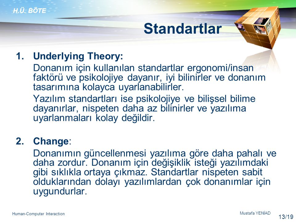 Standartlar Underlying Theory:
