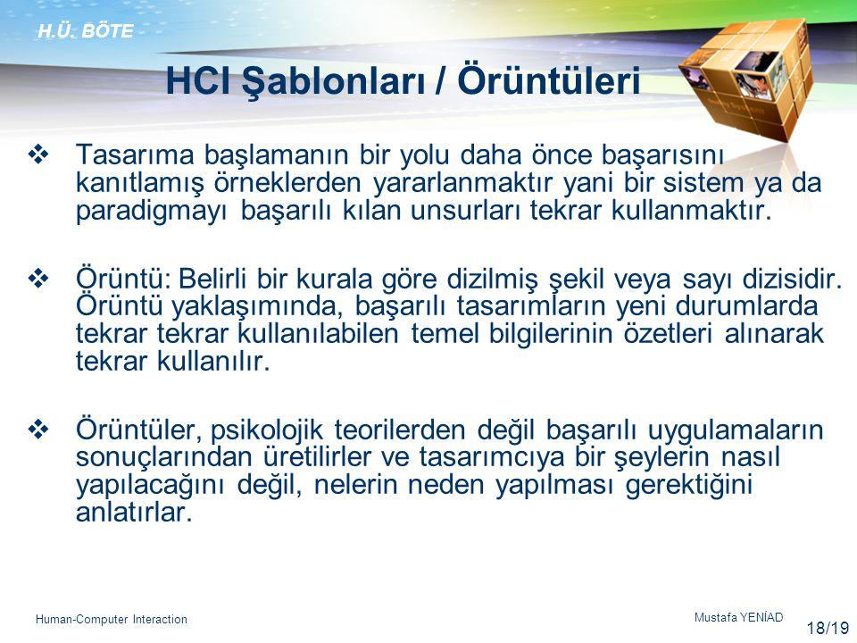 HCI Şablonları / Örüntüleri