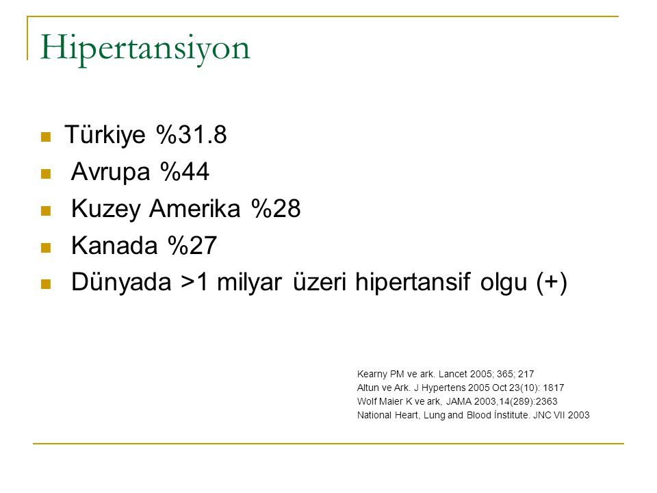 Hipertansiyon Türkiye %31.8 Avrupa %44 Kuzey Amerika %28 Kanada %27
